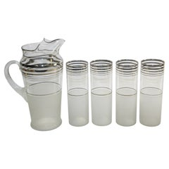 Vintage Barware Cocktail Set Pitcher and 4 Glasses Frosted and Silver Rim