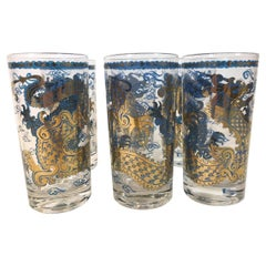 "Vintage Barware, Set of 6 Highball Glasses by Cera Glassware, ""Blue Dragon"""