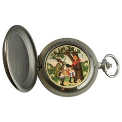 Vintage Base Metal Erotic Hand Winding Automation Pocket Watch