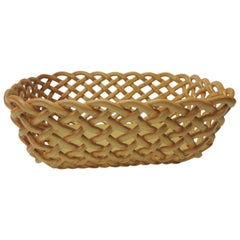 Vintage Basket Weave Ceramic Bread Orange Italian Basket