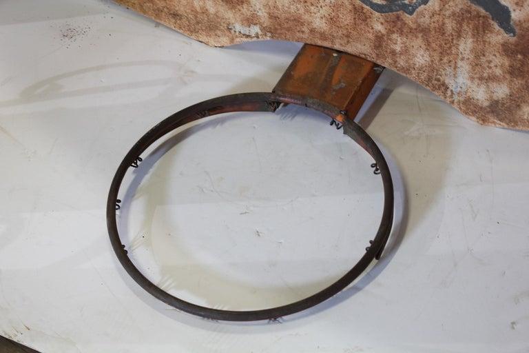 Vintage basketball hand-painted metal back board and hoop.
