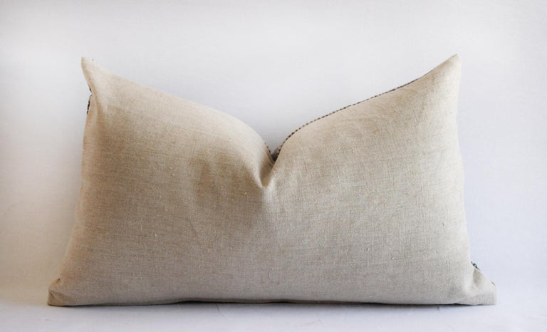 Asian Vintage Batik Accent Pillow Charcoal and Natural Linen For Sale