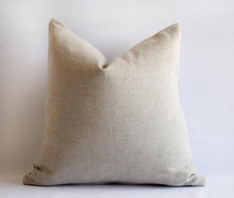Asian Vintage Batik Accent Pillow Charcoal and Natural Linen For Sale