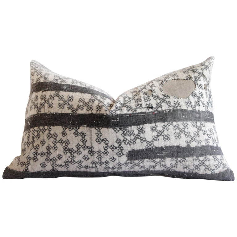 Vintage Batik Accent Pillow Charcoal and Natural Linen For Sale