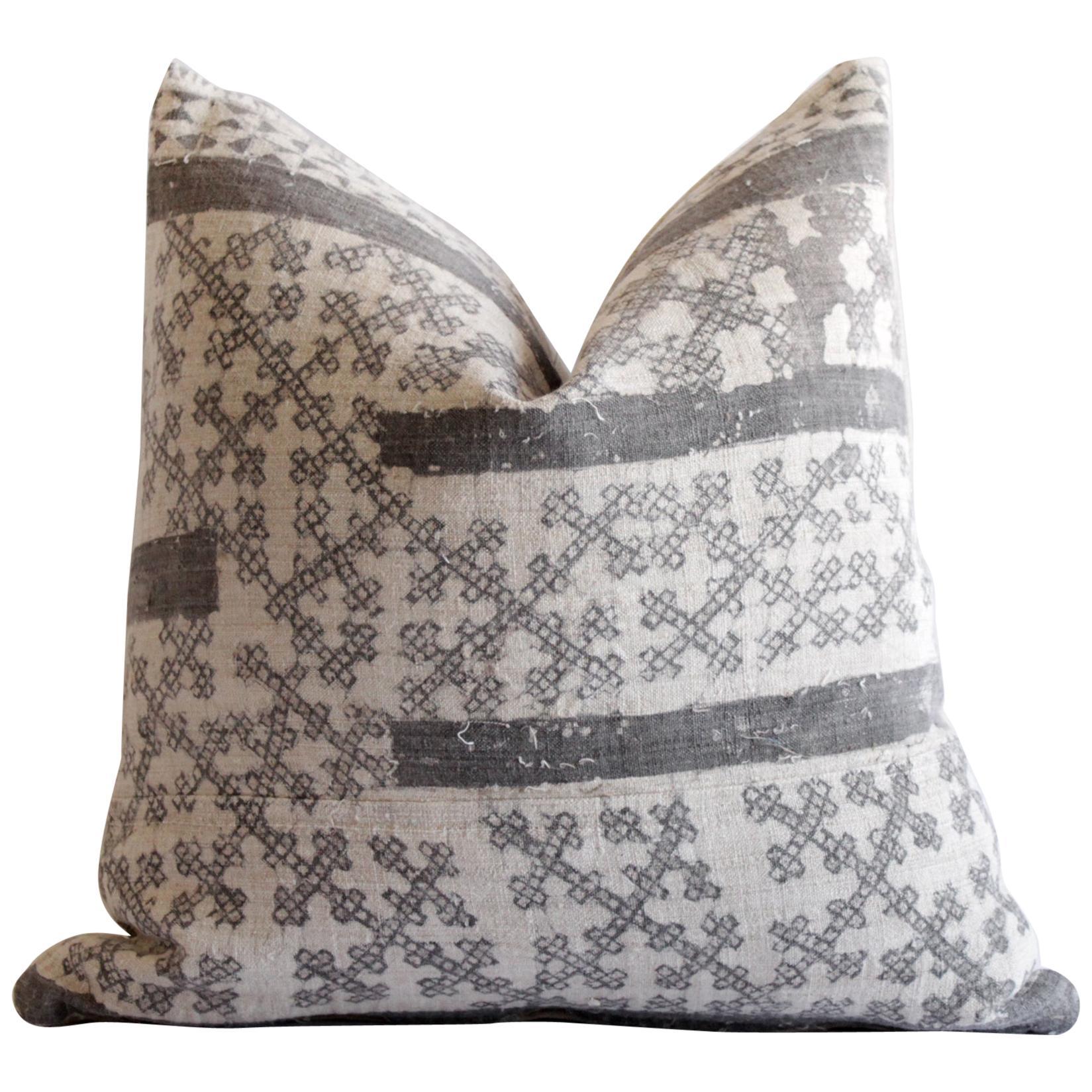 Vintage Batik Accent Pillow Charcoal and Natural Linen