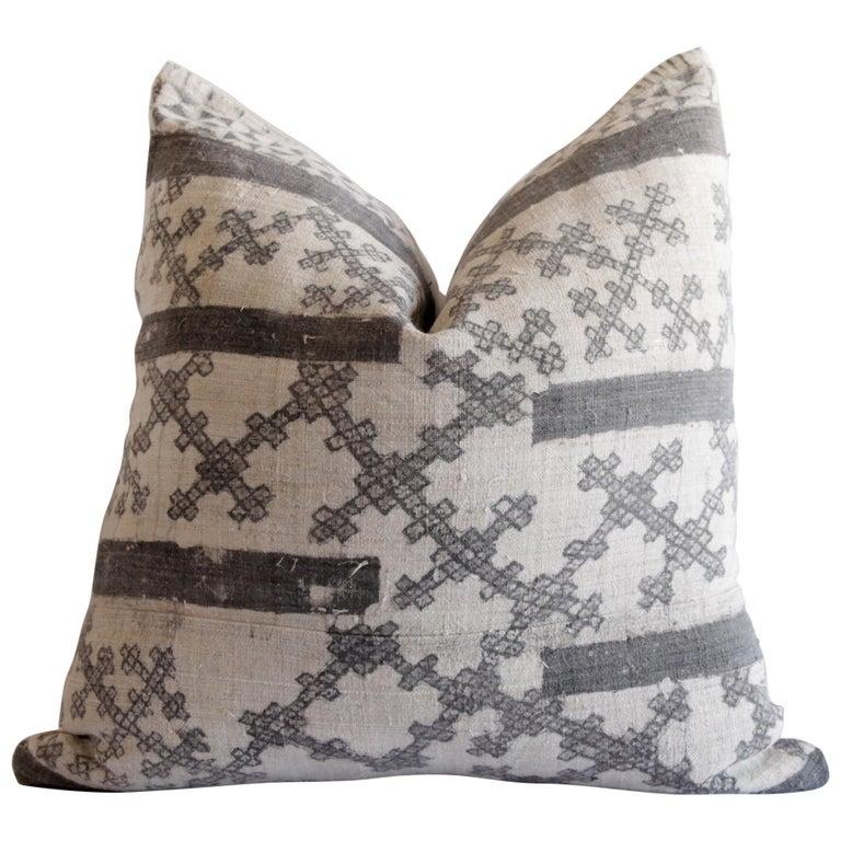 Vintage Batik Accent Pillow Charcoal and Natural Linen For Sale