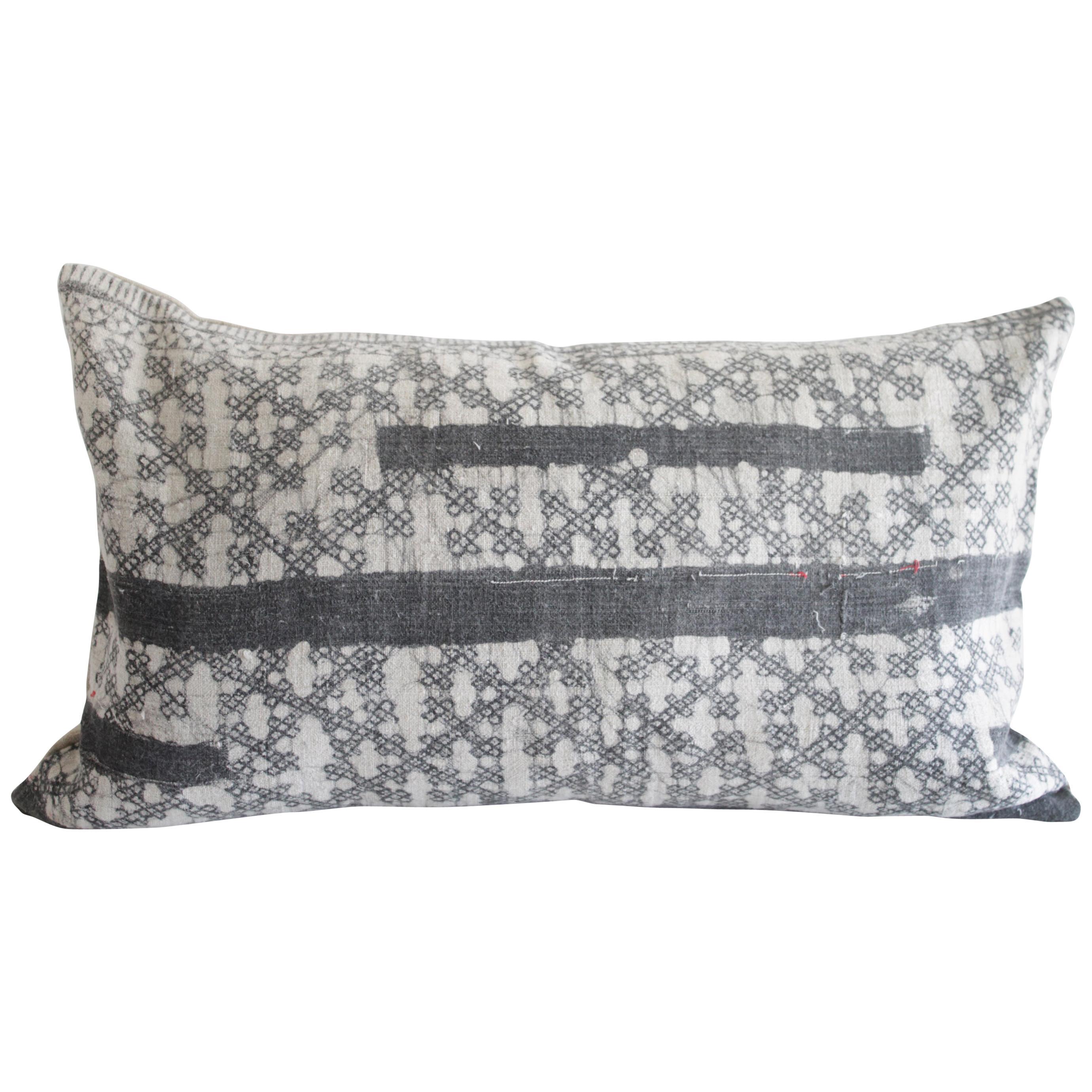 Vintage Batik Accent Pillow in Dark Grey Black with Natural Linen
