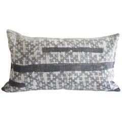 Vintage Batik Accent Pillow in Dark Grey Black with Natural Linen