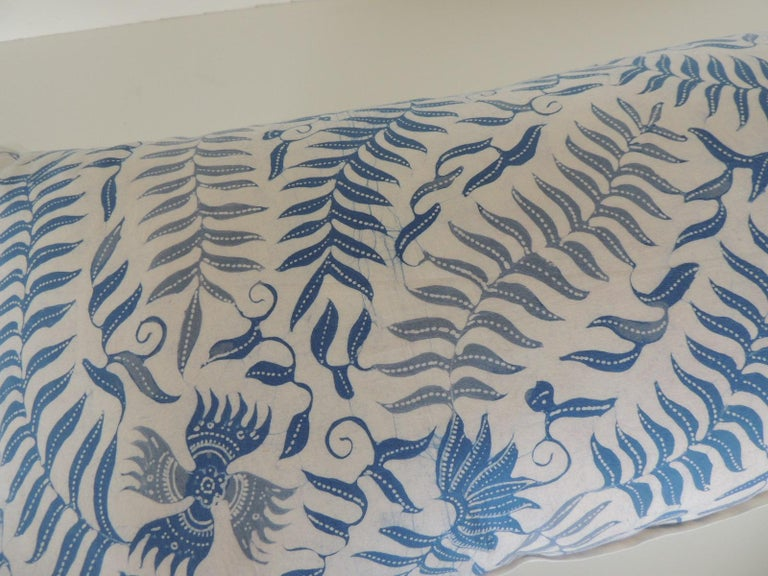 Tribal Vintage Batik Blue and White Long Bolster Decorative Pillow For Sale