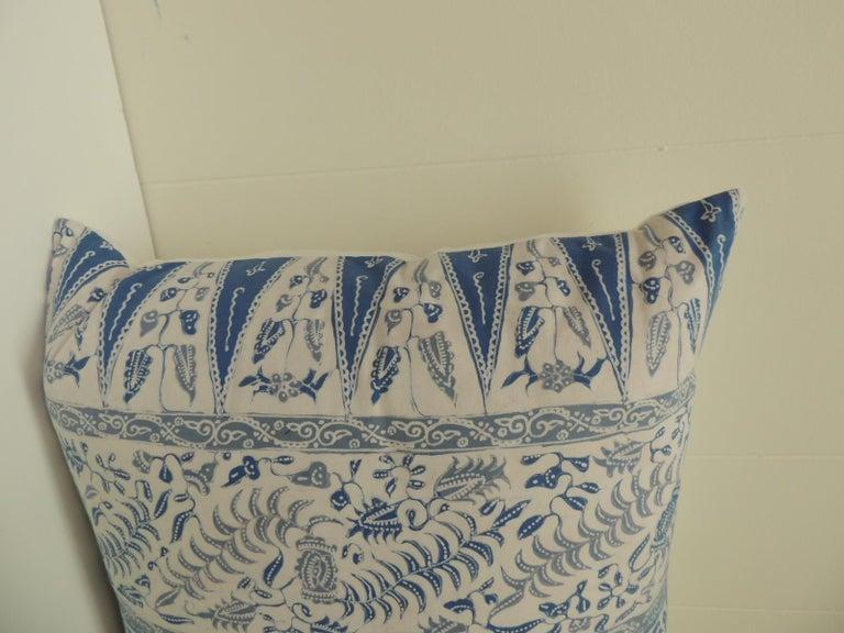Vintage batik blue and white square decorative pillow. Blue and white vintage batik textile handcrafted square throw pillows. Decorative square batik textile pillows finished with white linen backing, throw pillows handcrafted and designed in the