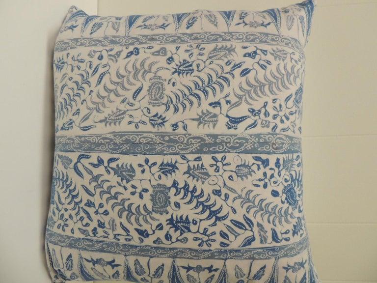 Tribal Vintage Batik Blue and White Square Decorative Pillow For Sale