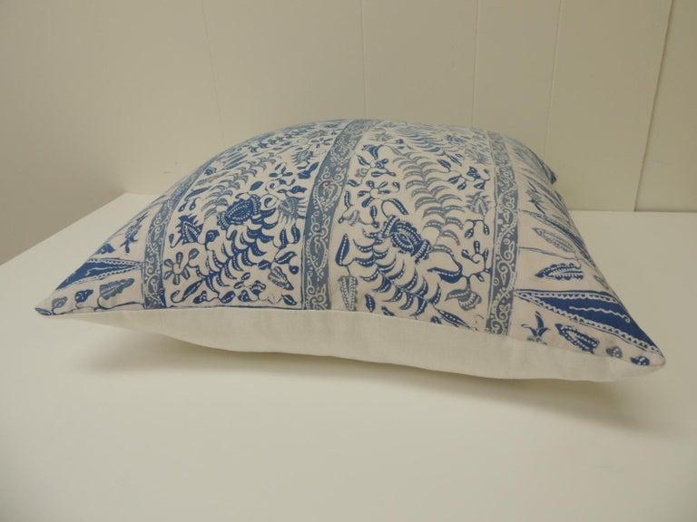 Asian Vintage Batik Blue and White Square Decorative Pillow For Sale