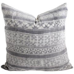 Vintage Batik Gray Accent Pillow