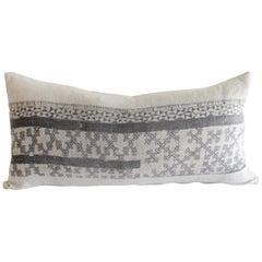 Vintage Batik Lumbar Accent Pillow in Dark Grey Black with Natural Linen