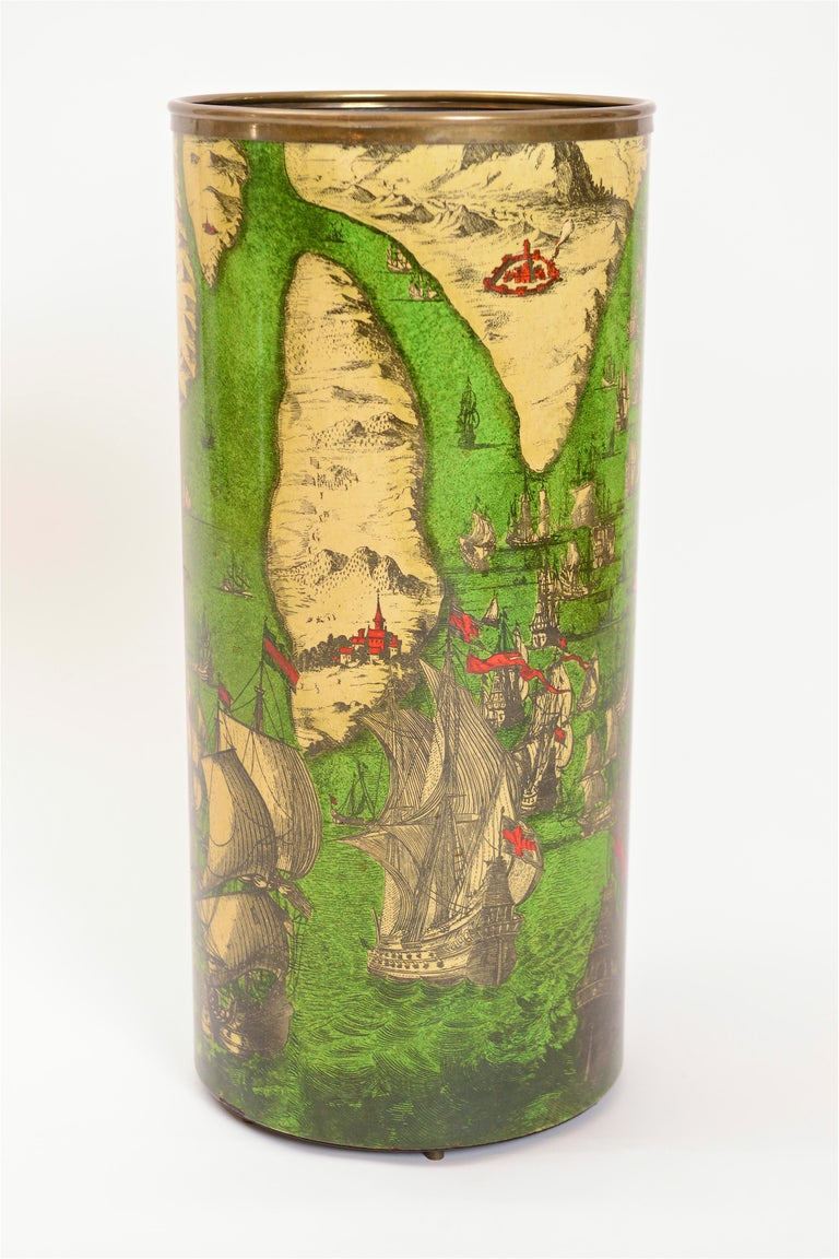 Mid-20th Century Vintage 'Battaglia Navale' Umbrella Stand by Piero Fornasetti, Italy circa 1950 For Sale