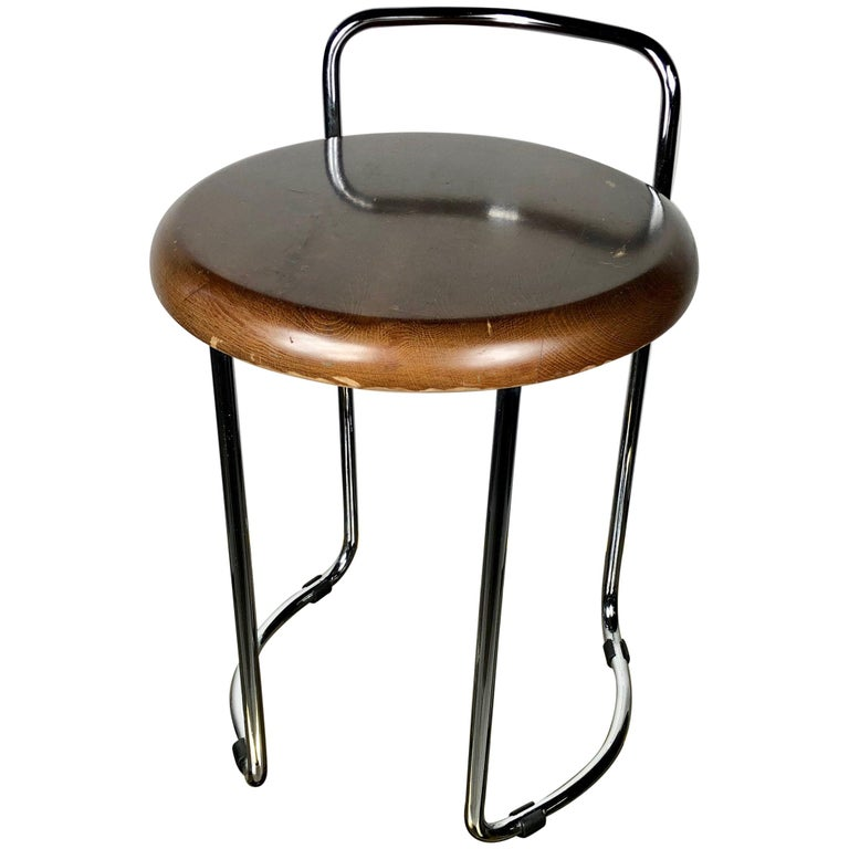 Vintage Bauhaus Chrome And Wood Stool With Tubular Legs