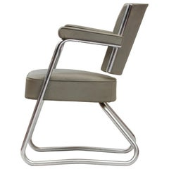 Vintage Bauhaus Tubular Chromed Steel and Green Vinyl Desk Chair