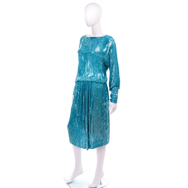 Blue Vintage Beaded Aqua Silk 2 Piece Evening Dress W/ Beads & Sequins For Sale