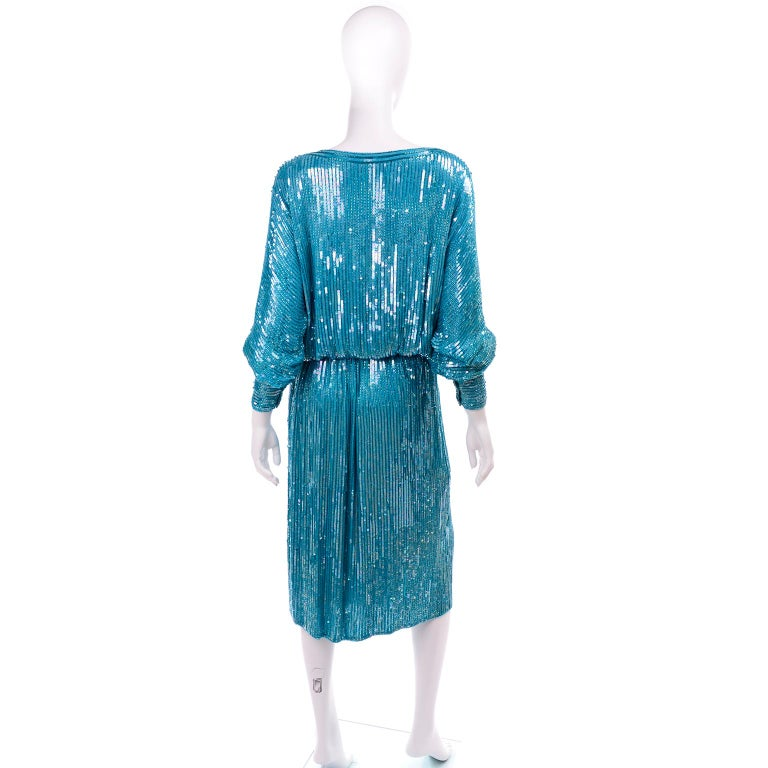 Women's Vintage Beaded Aqua Silk 2 Piece Evening Dress W/ Beads & Sequins For Sale