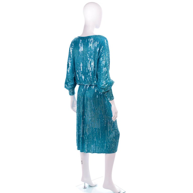Vintage Beaded Aqua Silk 2 Piece Evening Dress W/ Beads & Sequins For Sale 1