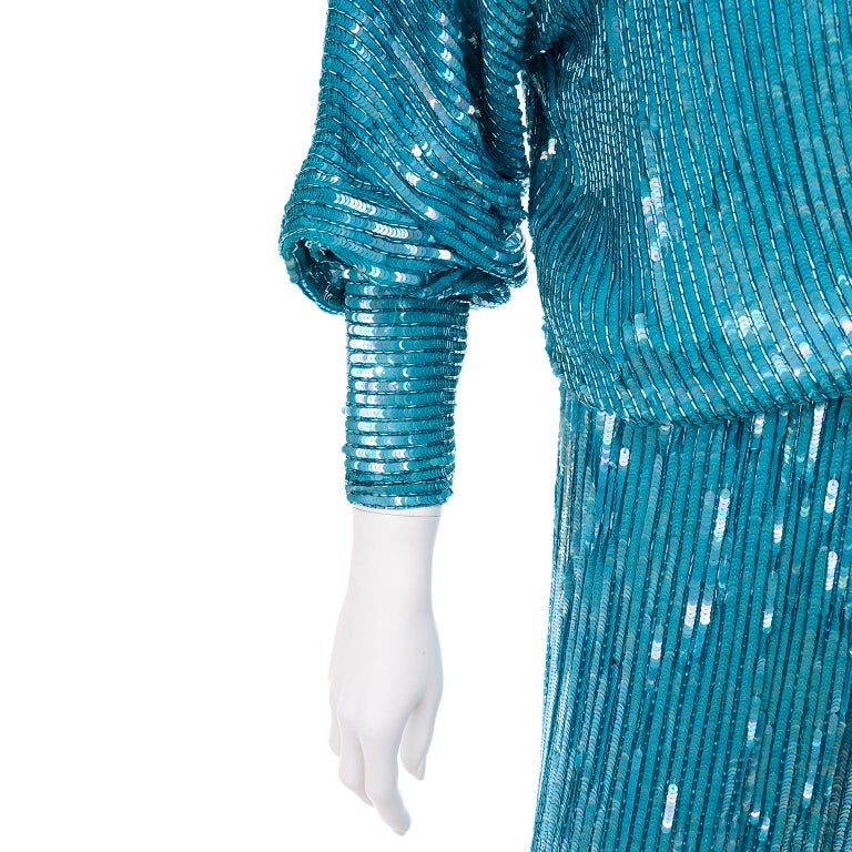 Vintage Beaded Aqua Silk 2 Piece Evening Dress W/ Beads & Sequins For Sale 4