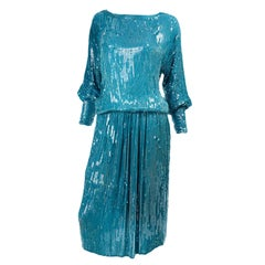 Vintage Beaded Aqua Silk 2 Piece Evening Dress W/ Beads & Sequins