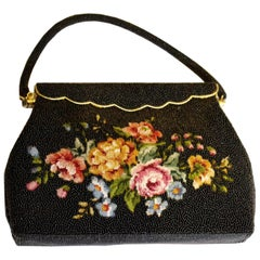 Vintage beaded Bag with Floral Stitched Front
