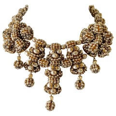 Vintage Beaded Pearl Gilt Statement Necklace