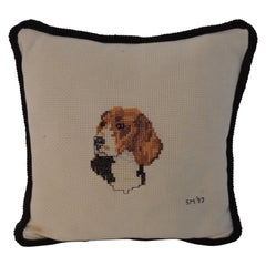 Vintage Beagle Dog Small Needlepoint Decorative Pillow