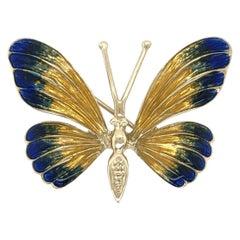 Vintage Beautiful Multi Enamel Gold Butterfly Brooch Pin Fine Estate Jewelry