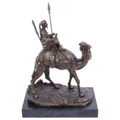 Vintage Bedouin Warrior on Camel Bronze Sculpture After Leonard, 20th Century