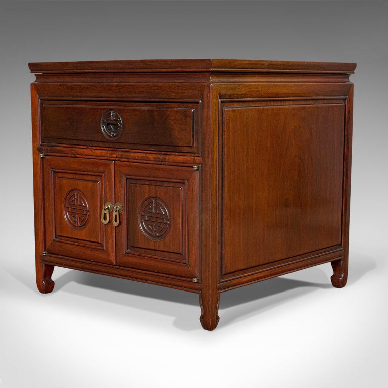 Chinese Export Vintage Bedside Nightstand, Asian, Teak, Side Cabinet, 20th Century, circa 1990 For Sale