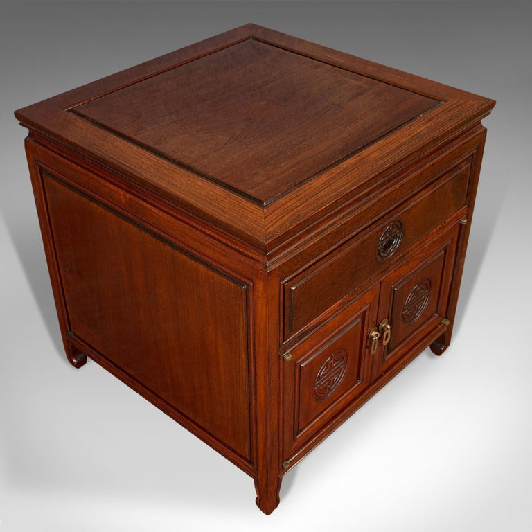 Vintage Bedside Nightstand, Asian, Teak, Side Cabinet, 20th Century, circa 1990 For Sale 3