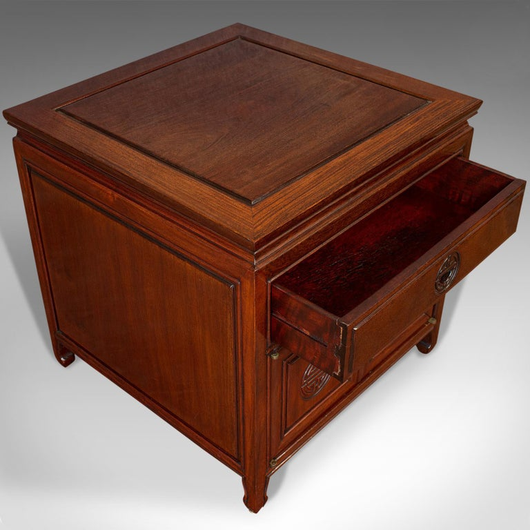 Vintage Bedside Nightstand, Asian, Teak, Side Cabinet, 20th Century, circa 1990 For Sale 4