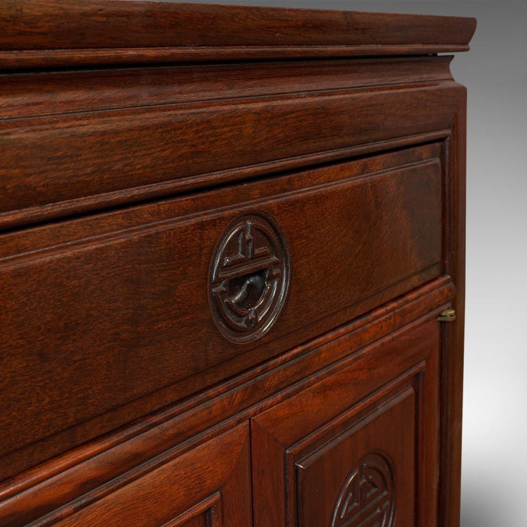 Vintage Bedside Nightstand, Asian, Teak, Side Cabinet, 20th Century, circa 1990 For Sale 5