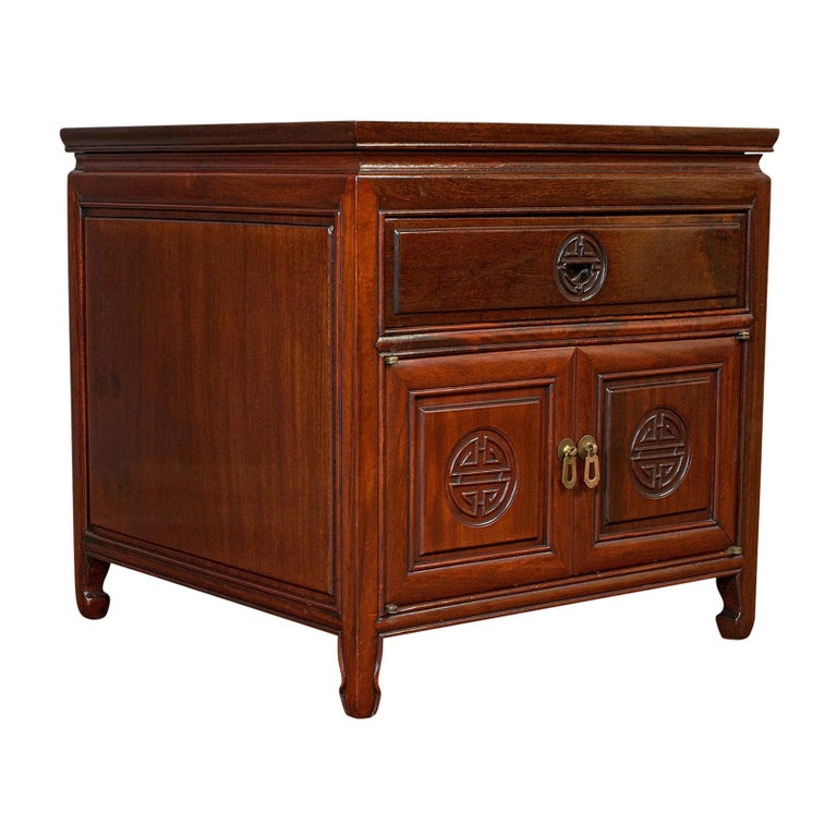 Vintage Bedside Nightstand, Asian, Teak, Side Cabinet, 20th Century, circa 1990 For Sale