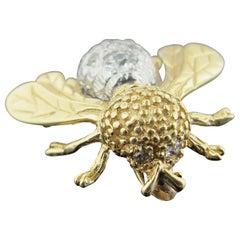 Vintage Bee Pin in 14 Karat Yellow Gold with 12 Old European Cut Diamonds