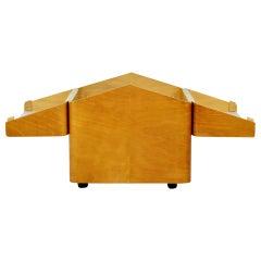 Vintage Beech Bent Plywood Side Table, Bar Storage, Retro MCM, 1960s Isokon Era