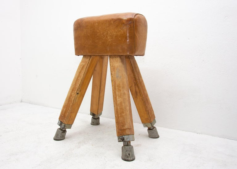 Industrial Vintage Beech, Metal and Leather Gym Pommel Horse, 1930s For Sale