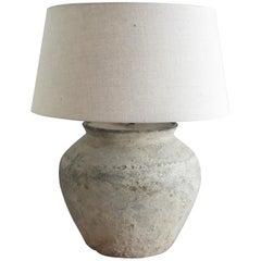Vintage Beige Asian Mud Vessel Lamp