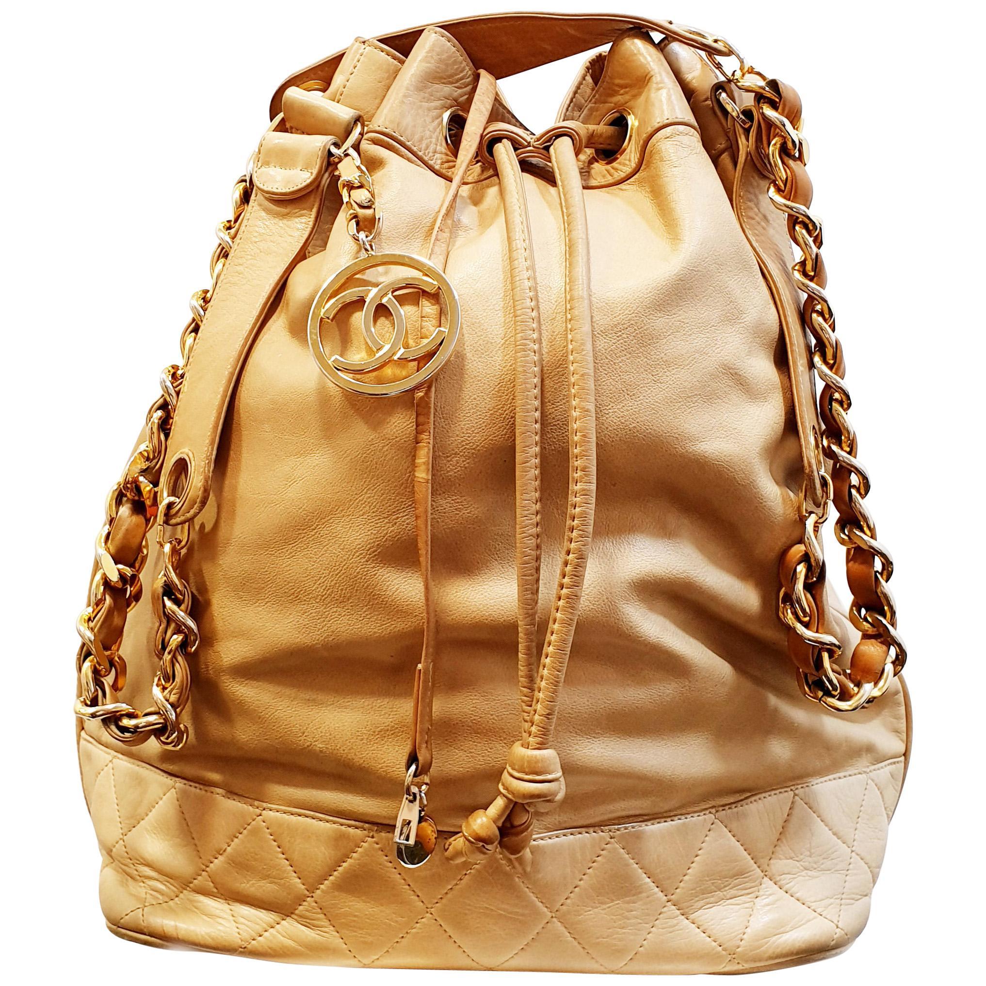 Vintage Beige Caramel Chanel Large drawstring bag lambskin with gold metal