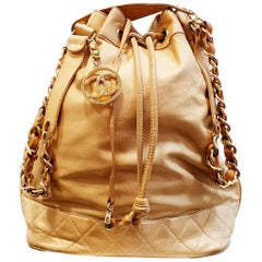 Vintage Beige Caramel Chanel Large drawstring bag lambskin with gold metal