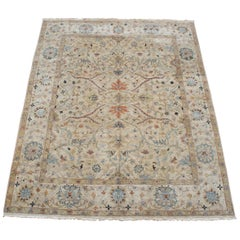 Vintage Beige Floral All-Over Wool Area Rug Carpet