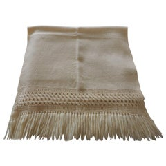 Vintage Beige Handwoven Throw with Hand Knotted Fringes