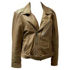 Vintage Beige Leather Biker Jacket