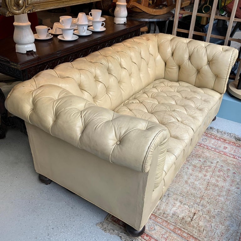 American Vintage Beige Leather Chesterfield Sofa For Sale