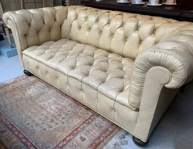 20th Century Vintage Beige Leather Chesterfield Sofa For Sale