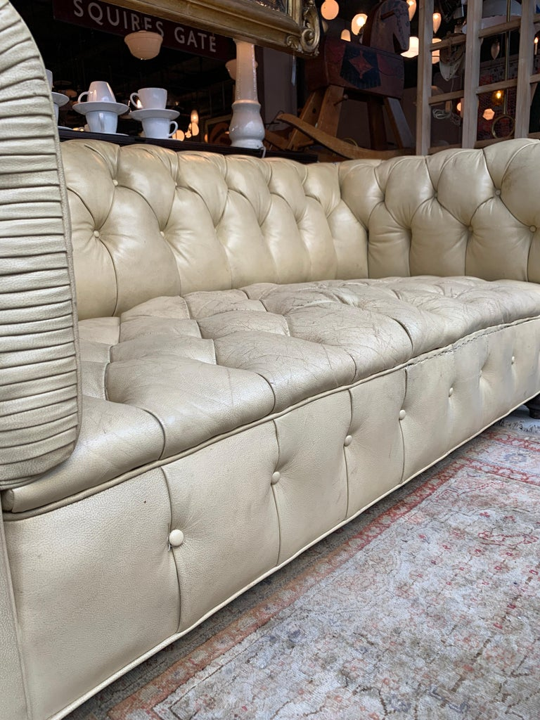 Vintage Beige Leather Chesterfield Sofa For Sale 3