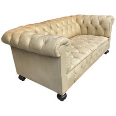 Vintage Beige Leather Chesterfield Sofa