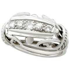 Vintage Belgian 1940s Diamond and White Gold Cocktail Ring